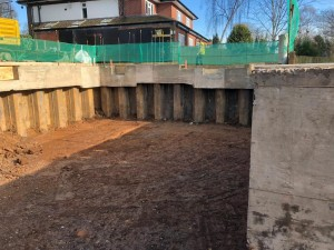 With sheet piles and a capping beam the basement can be excavated within a metre of the neighbouring properties